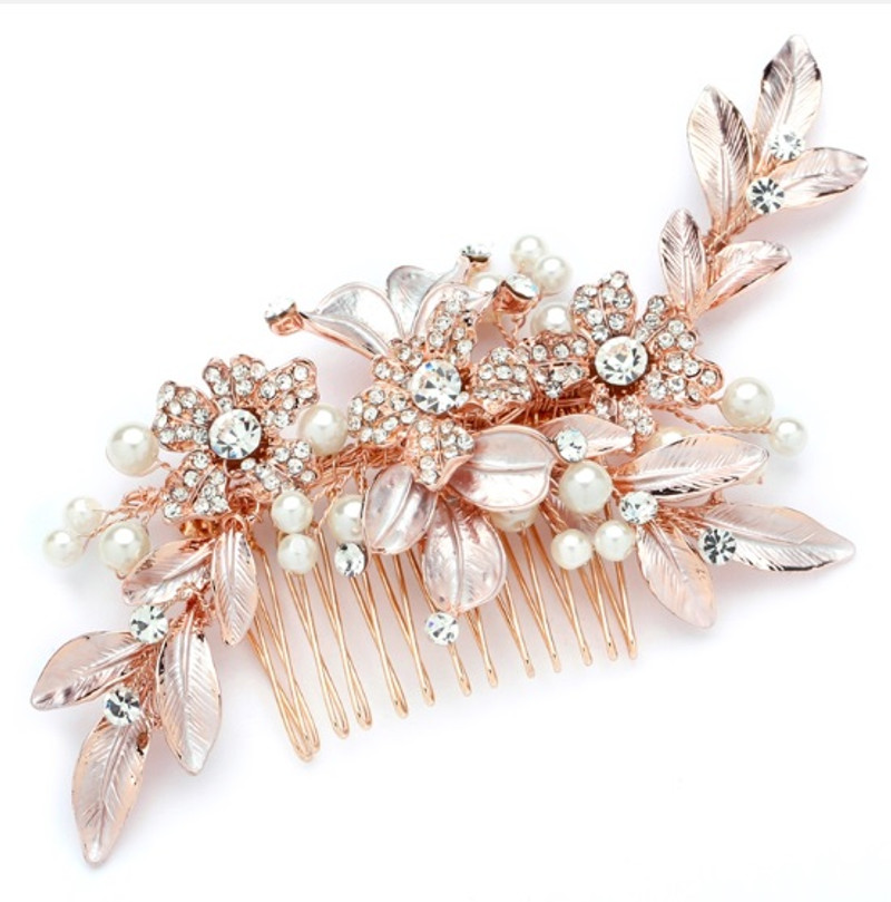 Rose gold, bridal headpiece.