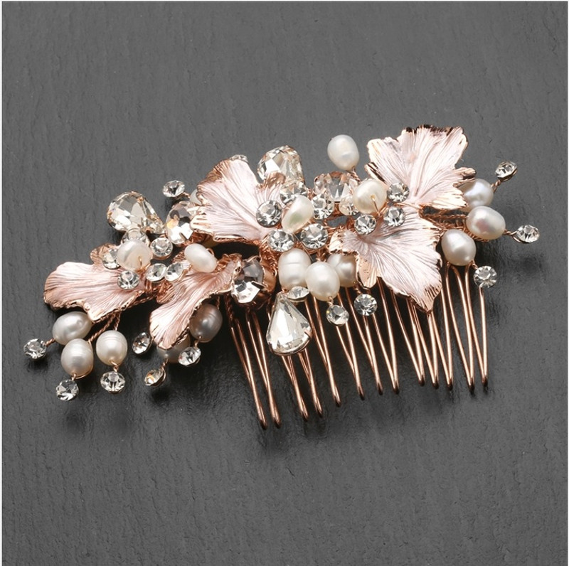 Rose Gold, wedding comb.