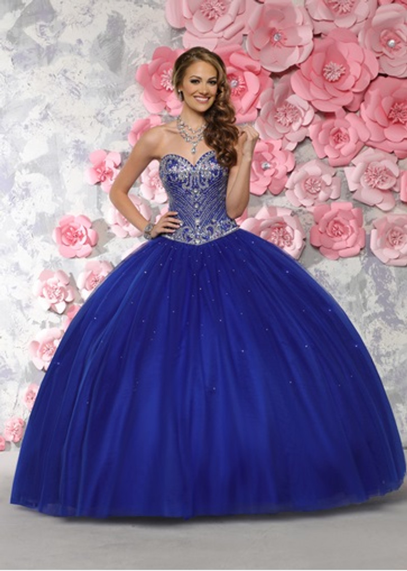 Royal blue Quinceanera dress.