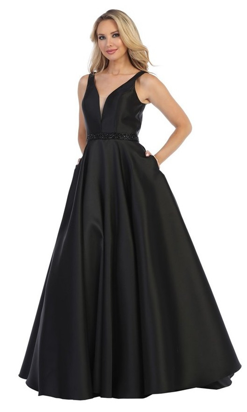 Black, ball gown.
