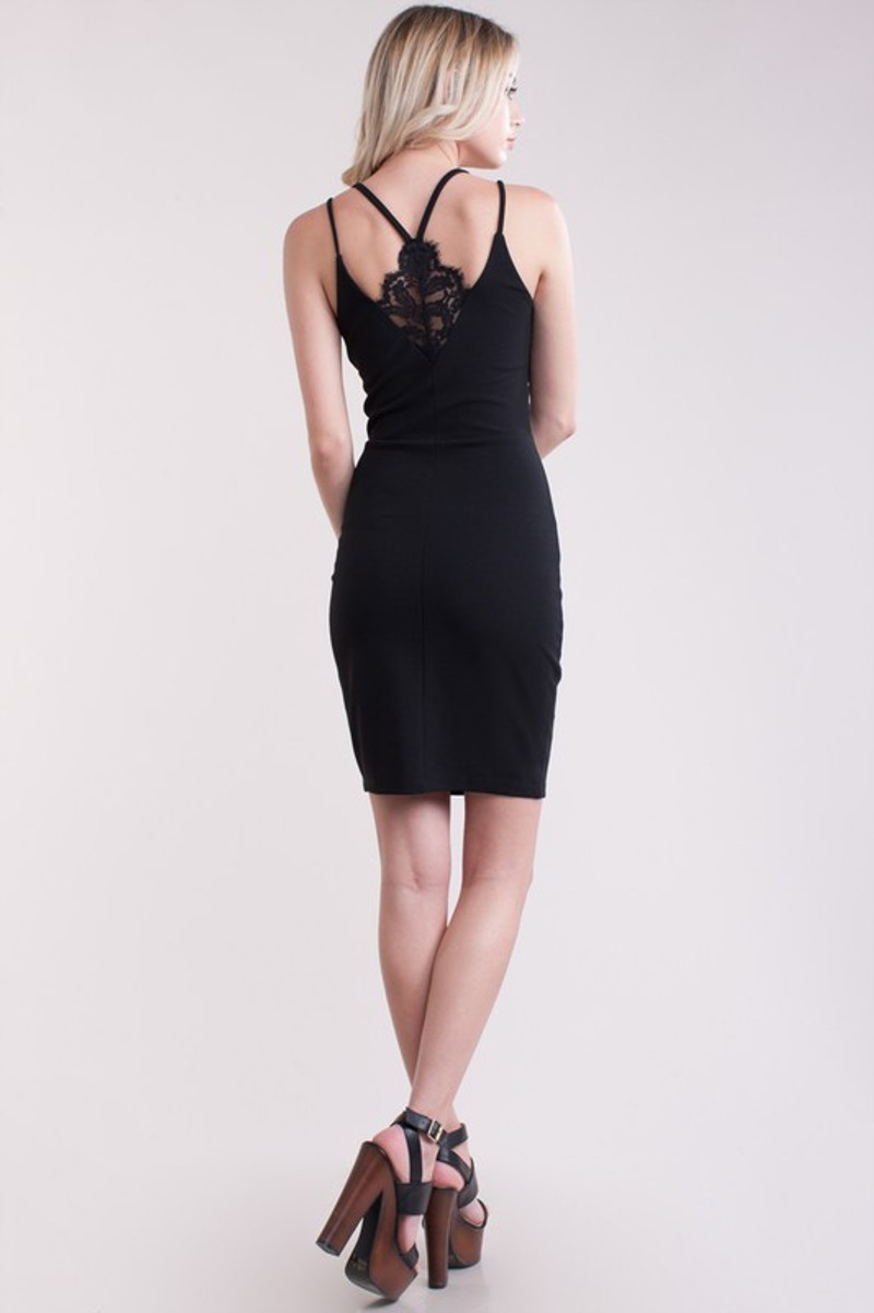Black homecoming dress with a touch of lace in the back and front.