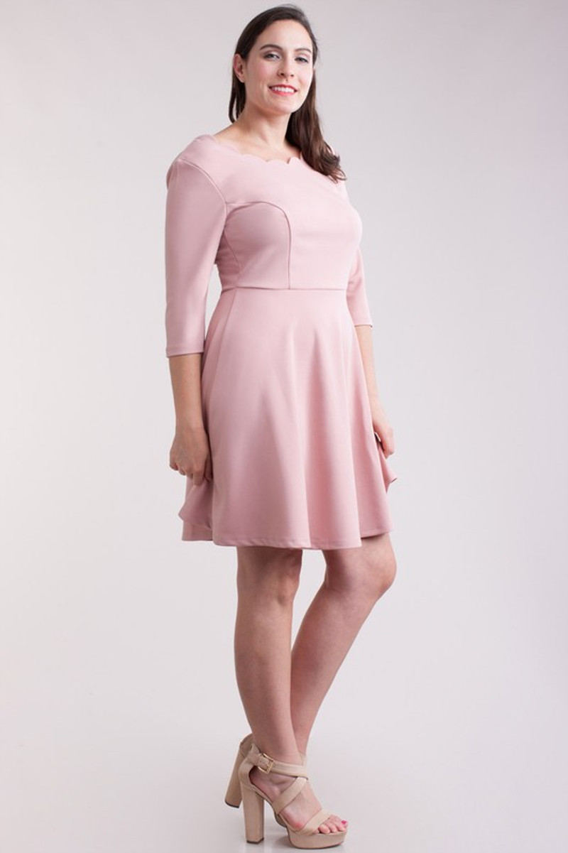 Homecoming dress with 3/4 sleeves.