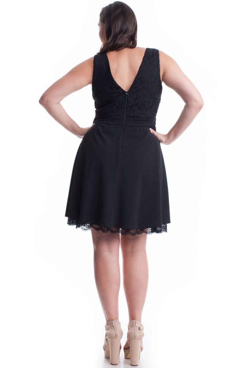 Homecoming dress with a flare bottom with a touch of lace for a feminine look.