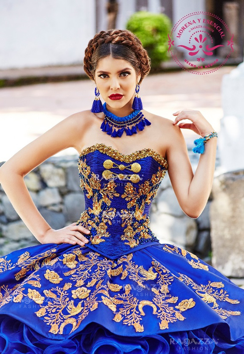 19757033067 Beautiful charra details in the bodice of this Quinceanera dress.