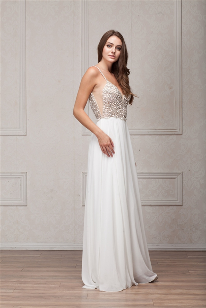 This prom dress is available in white.