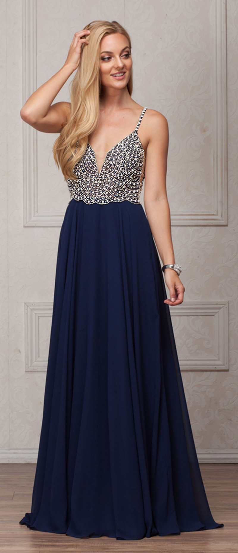This dress is available in navy.