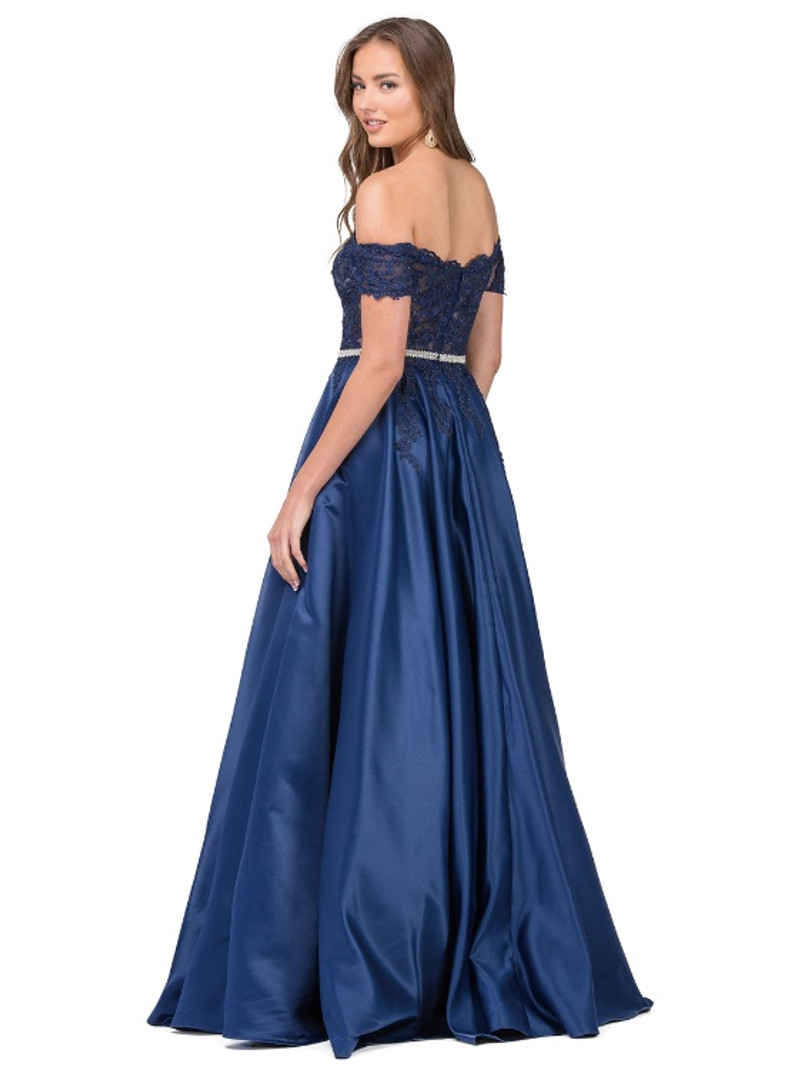 Lace applique, satin graduation dress with pockets.