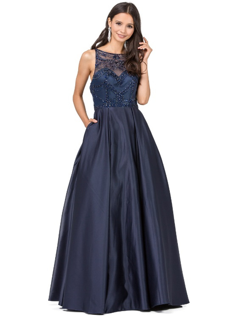 Navy, A-line prom dress with pockets.