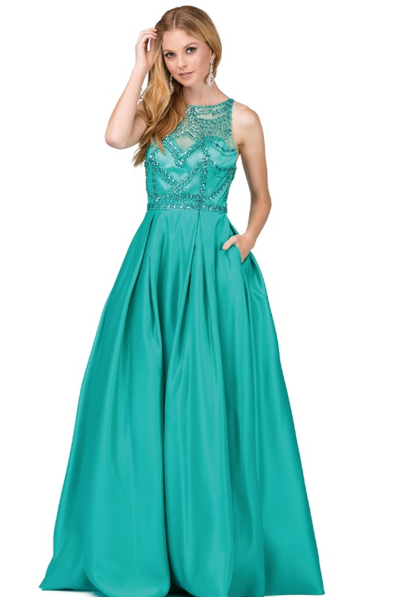 Jade, prom dress with pockets.