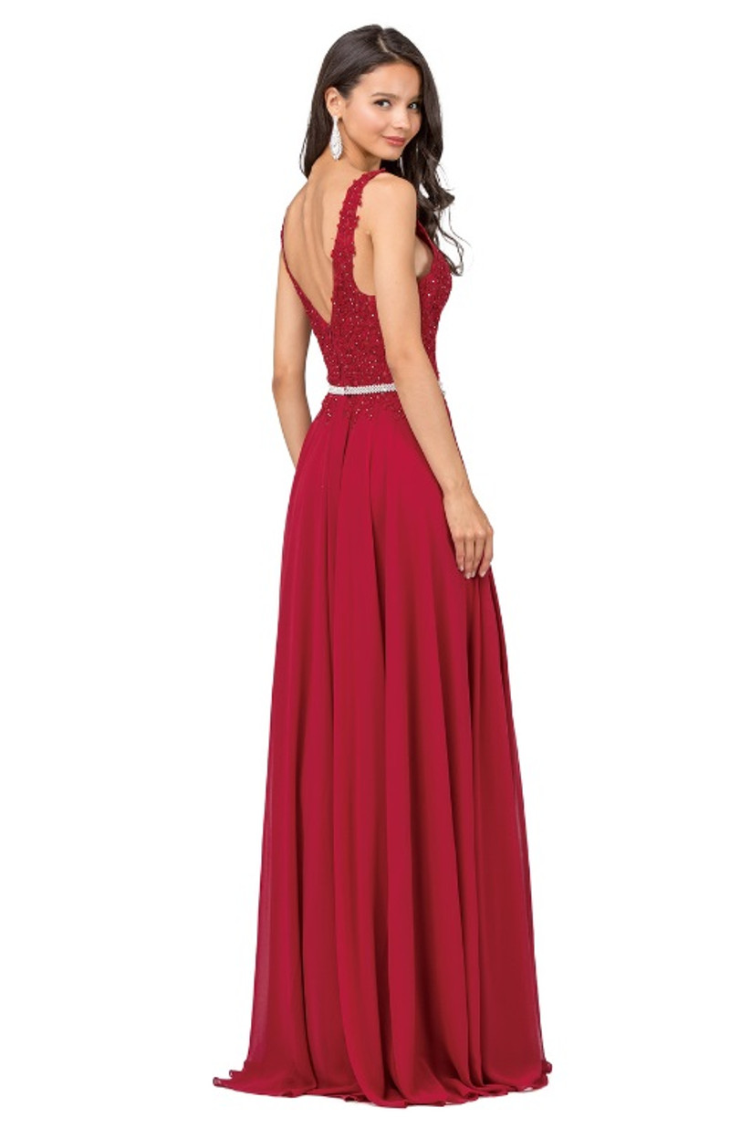 This formal gown has a low-back.