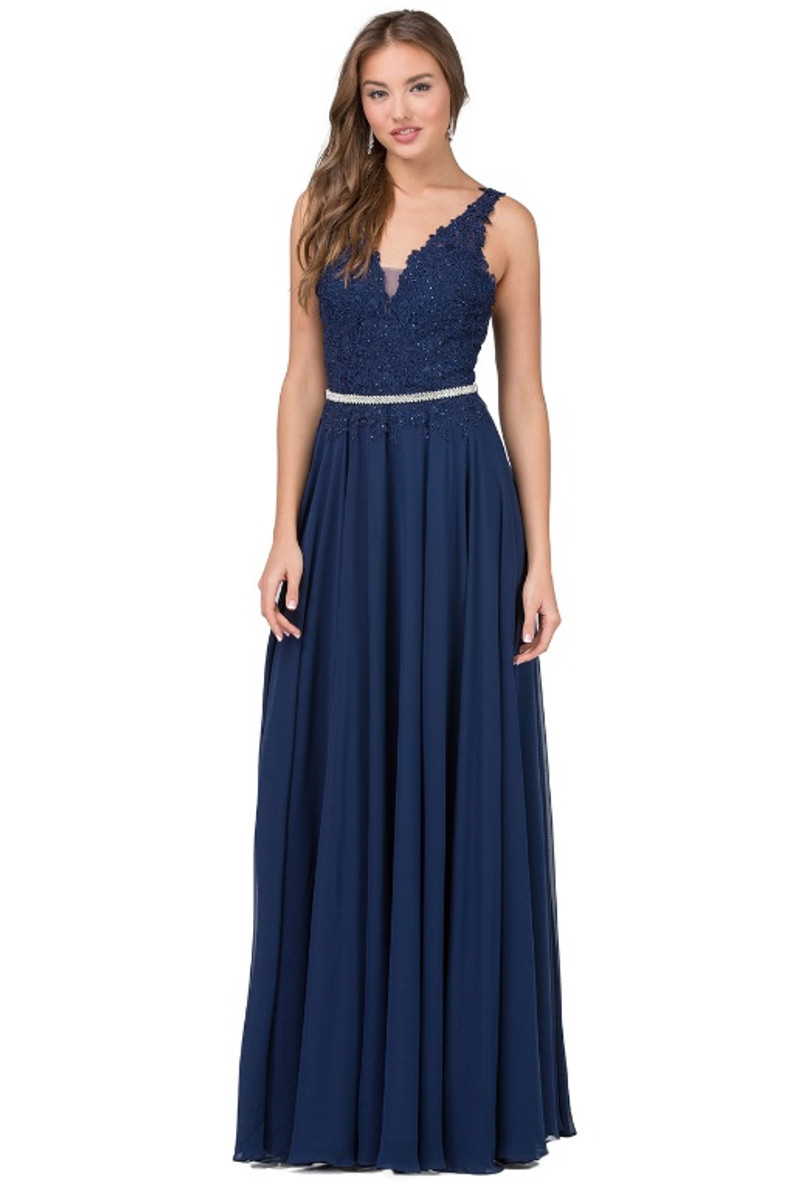 Navy, prom dress with a detachable belt for a little sparkle.