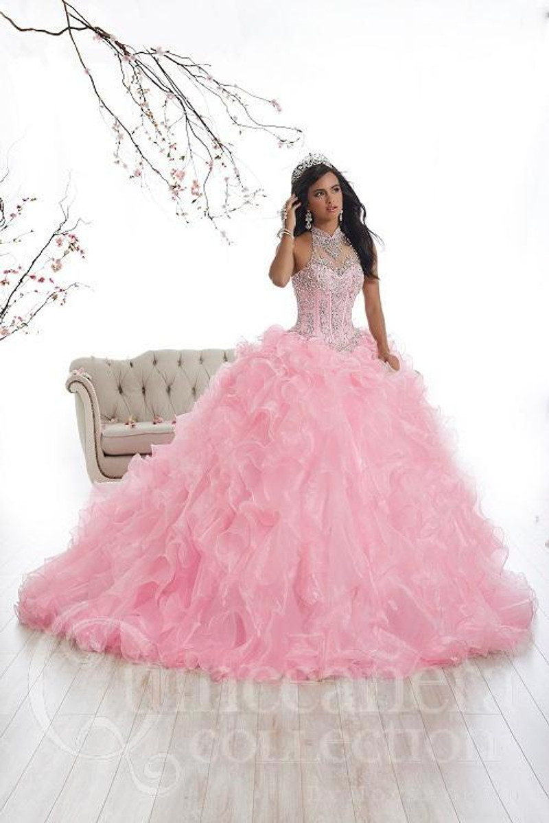 Halter-top, Pink, Quinceanera Dress