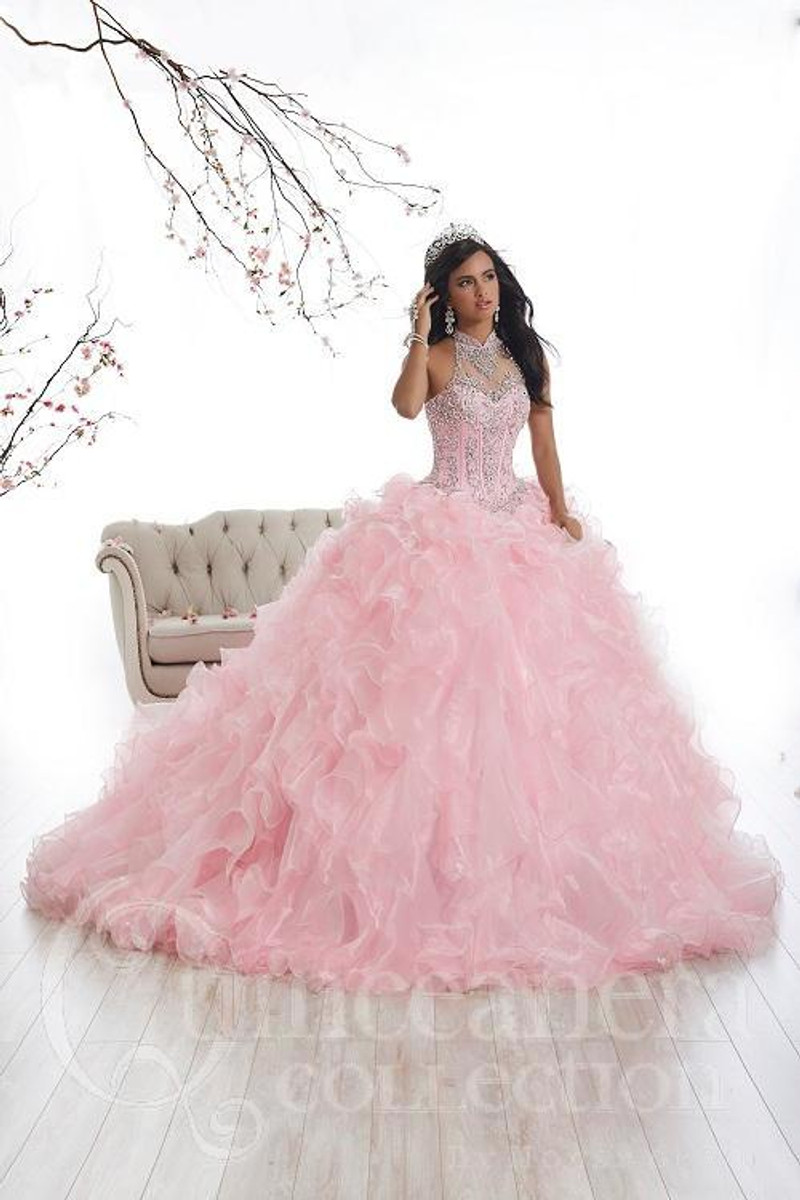 Baby Pink, quinceanera Dress with Ruffles.
