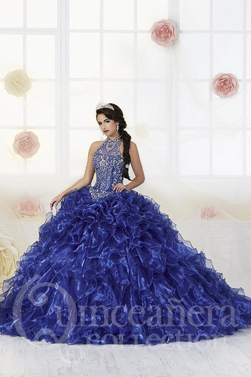 Royal Blue, Quince Dress with Ruffles and a Halter-top.