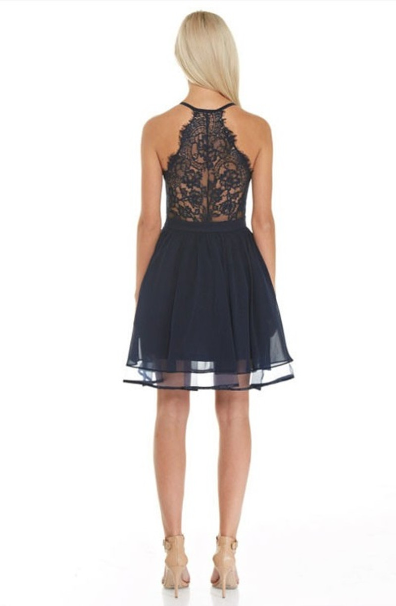 Homecoming dress with lace back detail.