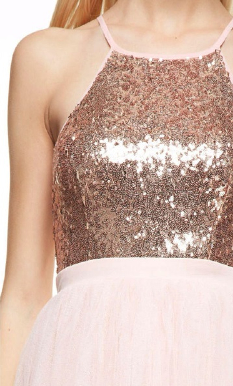 Holter top, sequin, homecoming dress.