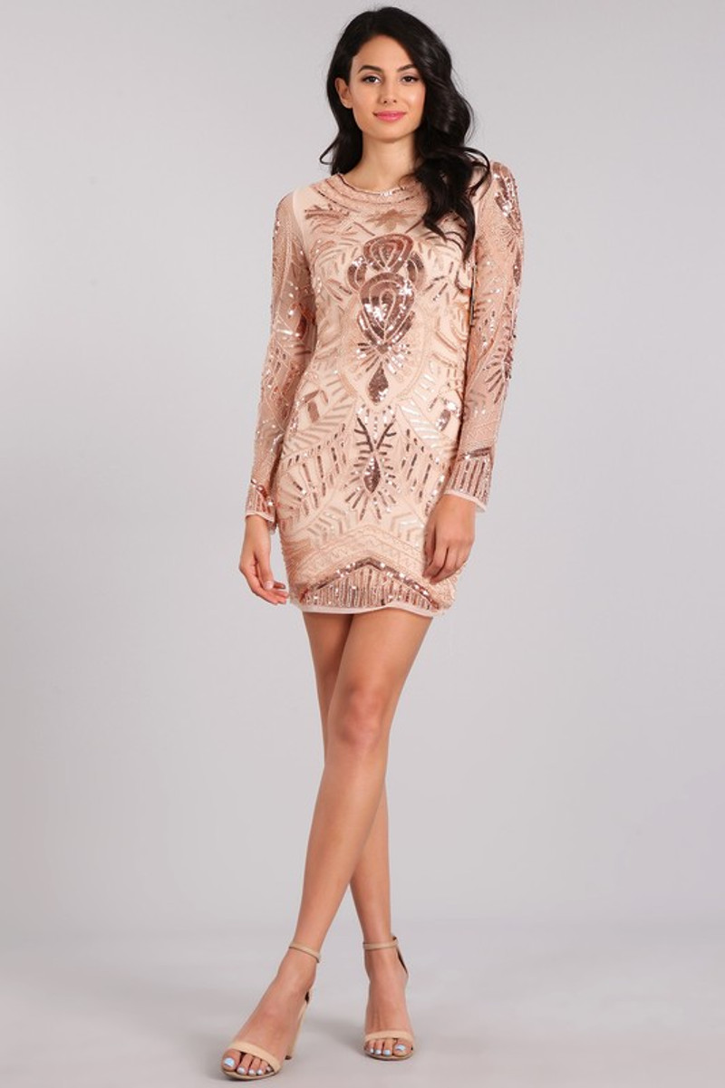 Rose gold, cocktail dress.