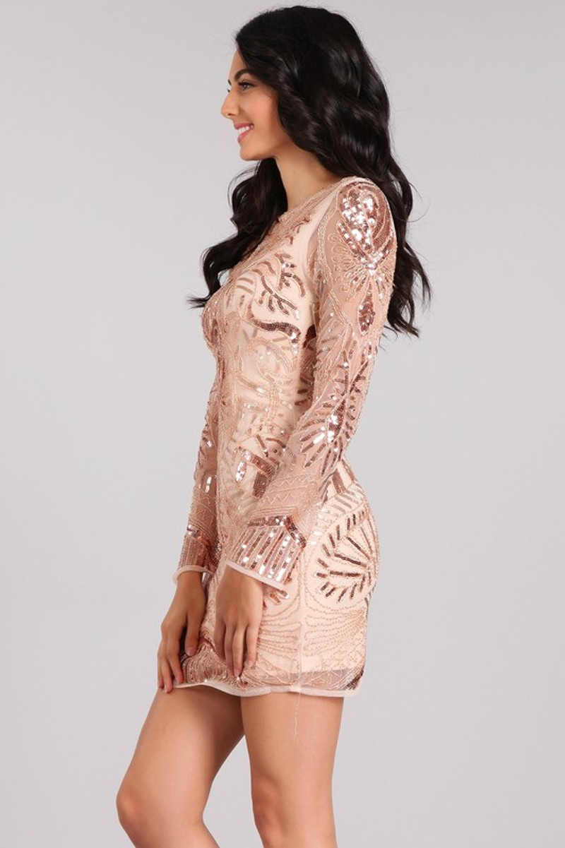 Rose gold, evening dress.