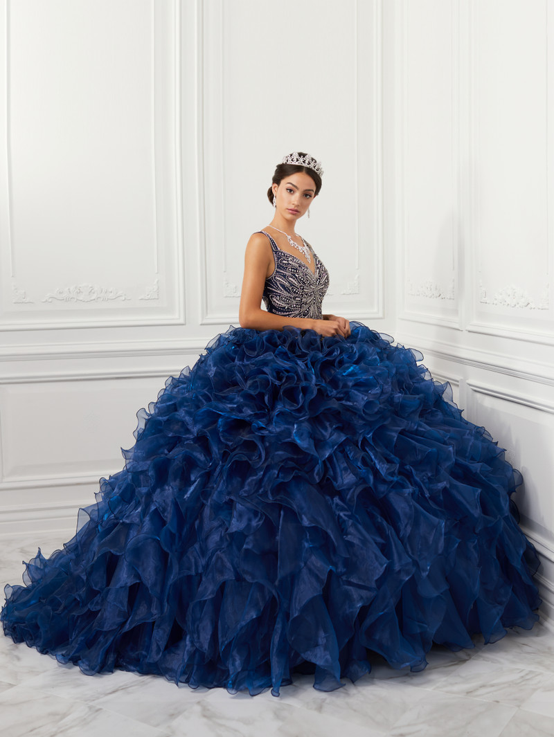 This quinceanera dress comes in midnight/silver.