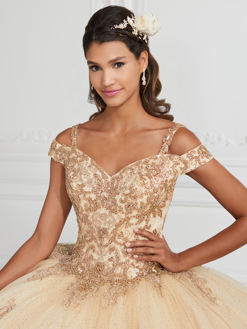 This quince dress is available in Champagne/Gold.