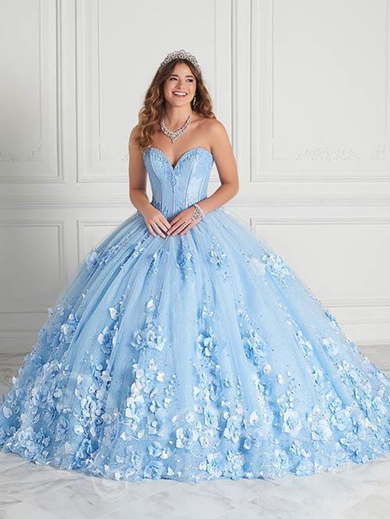 This quinceanera dress is available in periwinkle.
