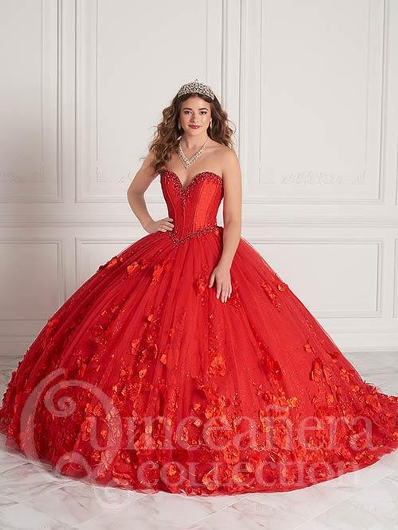This quince dress is available in red.