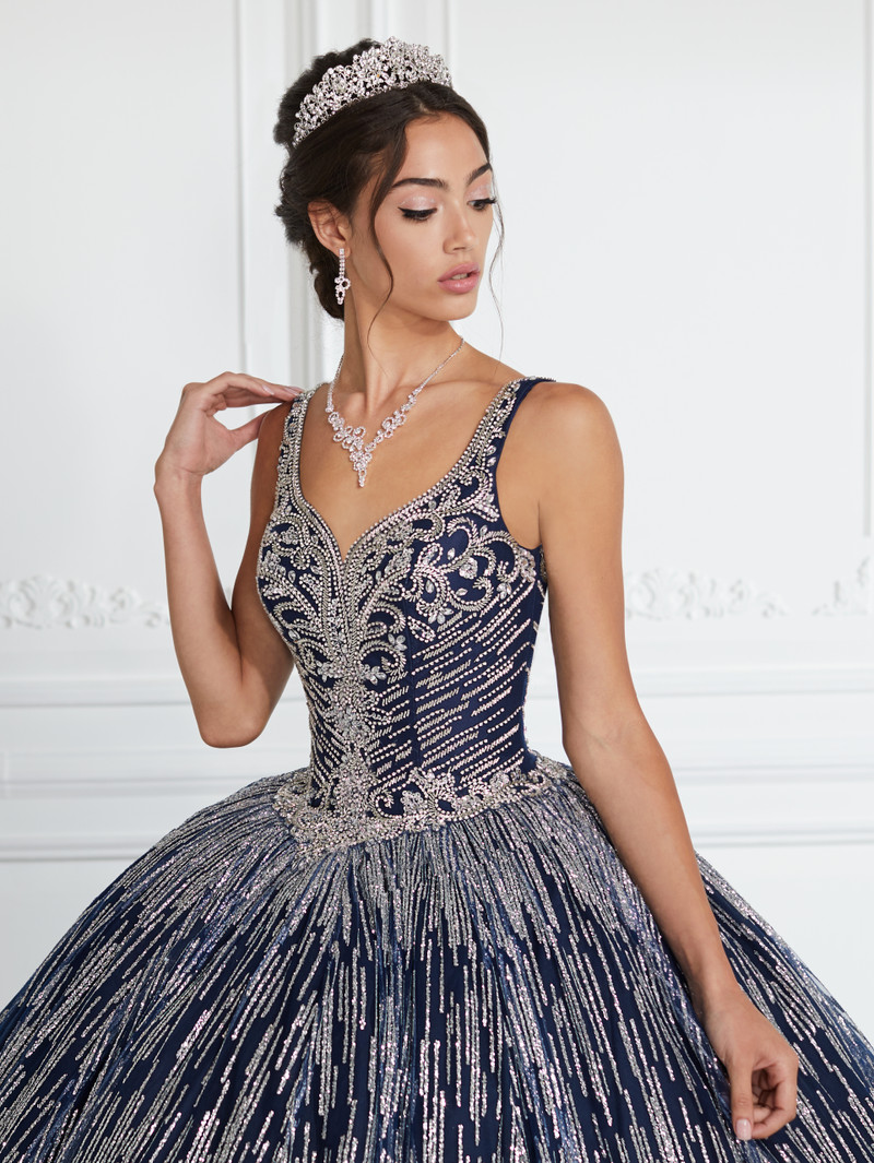 This quinceanera dress is available in navy/silver.