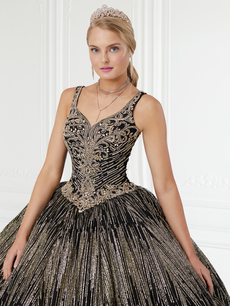 This quince dress is available in black/gold.