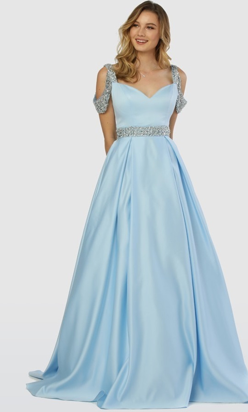 Light blue, prom dress with beaded waist.