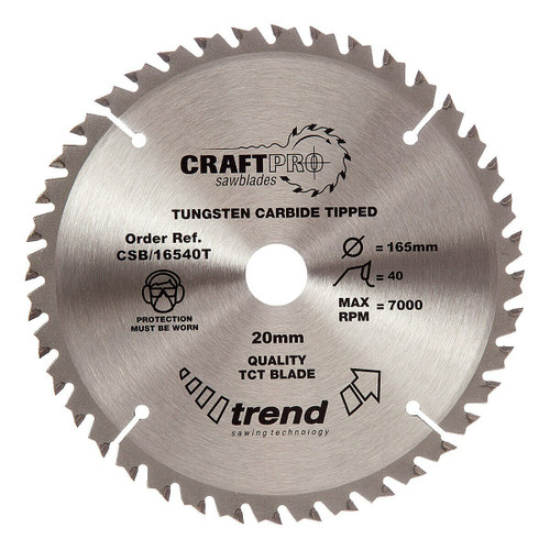 Trend CSB/16540T CraftPro Saw Blade 165mm x 20mm x 40T