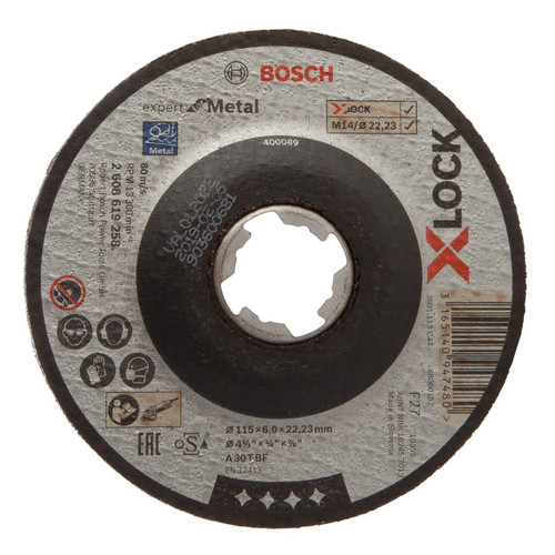 Bosch 2608619258 X-LOCK Expert for Metal Depressed Cutting Disc 115mm x 6mm x 22.23mm (Pack Of 10)