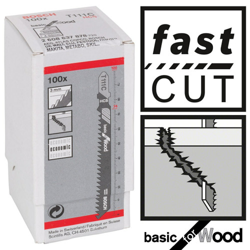 Bosch T111C (2608637878) Basic for Wood Jigsaw Blades (Pack Of 100)