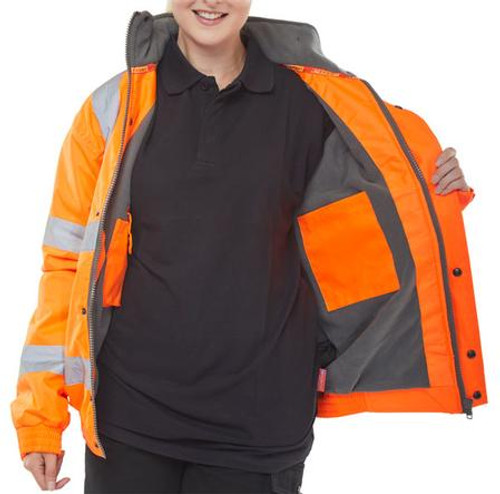 HIGH VISIBILITY FLEECE LINED BOMBER JACKET
