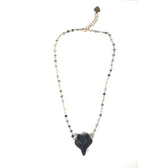 Dalmatian Opal and Obsidian Fox Necklace