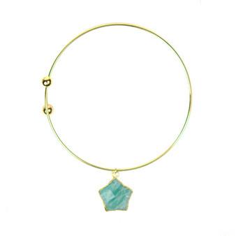 Amazonite Star Adjustable Bangle Bracelet