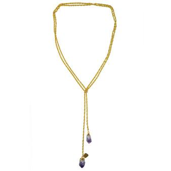 Amethyst Druzy Lariat Necklace