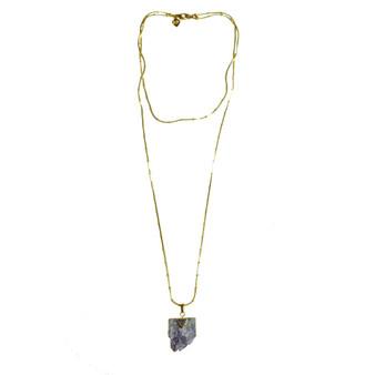 Double Chain Amethyst Pendant Necklace