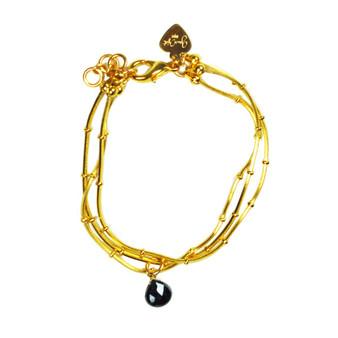 Black Spinel Drop Ball Chain Bracelet