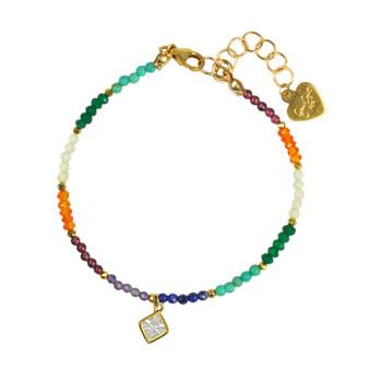 Chakra With Clear Quartz Drop Bracelet