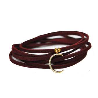 Crescent Moon Burgundy Suede Wrap Bracelet