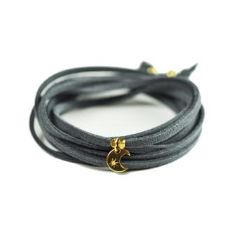 Crescent Moon Grey Suede Wrap Bracelet