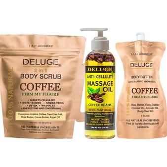 Cellulite Treatment Set - Coffee Scrub -Coffee Butter - Anti-Cellulite Massage Oil
