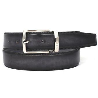 PAUL PARKMAN Men's Leather Belt Dual Tone Hand-Painted Gray & Black (ID#B01-GRY-BLK)