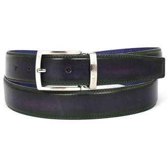 PAUL PARKMAN Men's Leather Belt Dual Tone Green & Purple (ID#B01-GRN-PURP)