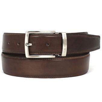 PAUL PARKMAN Men's Leather Belt Hand-Painted Brown (ID#B01-ANTBRW)