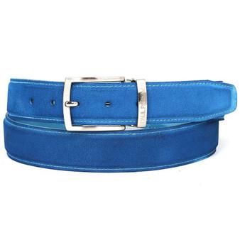 PAUL PARKMAN Men's Blue Suede Belt (ID#B06-BLU)