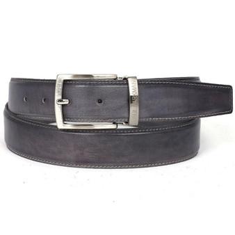 PAUL PARKMAN Men's Leather Belt Hand-Painted Gray (ID#B01-GRAY)