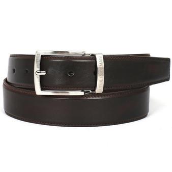 PAUL PARKMAN Men's Leather Belt Hand-Painted Dark Brown (ID#B01-DARK-BRW)