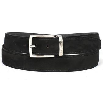 PAUL PARKMAN Men's Black Suede Belt (ID#B06-BLK)