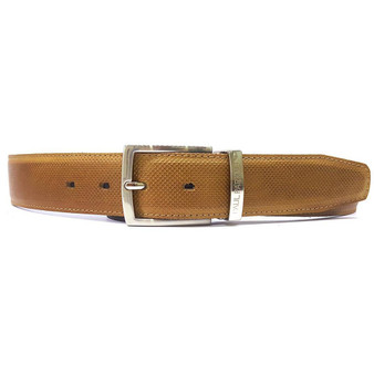 PAUL PARKMAN Men's Perforated Leather Belt Beige (ID#B08-BEJ)